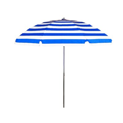 7.5 Beach Umbrella Tilt: Without Tilt, Fabric: Blue and White Stripe  Marine Grade Acrylic
