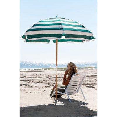 6.5 Beach Umbrella Fabric: Forest Green / White Stripe