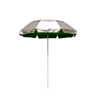 6 Lifeguard Beach Umbrella Fabric: Silver / Forest Green