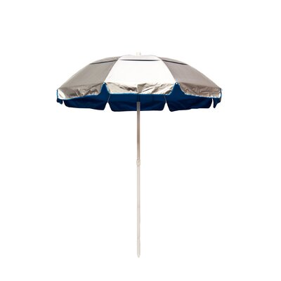 6 Lifeguard Beach Umbrella Fabric: Silver / Pacific Blue