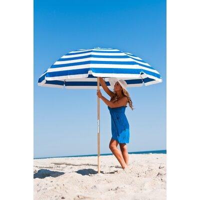 7.5 Beach Umbrella Fabric: Blue / White Stripe