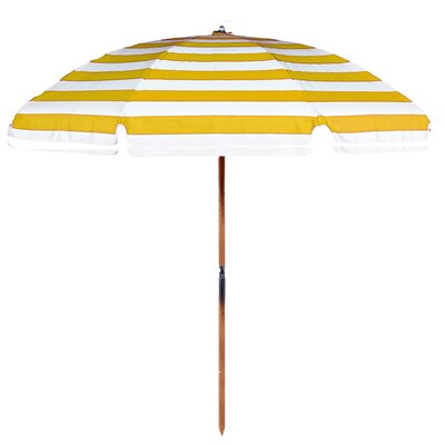 7.5 Beach Umbrella Fabric: Yellow / White Stripe