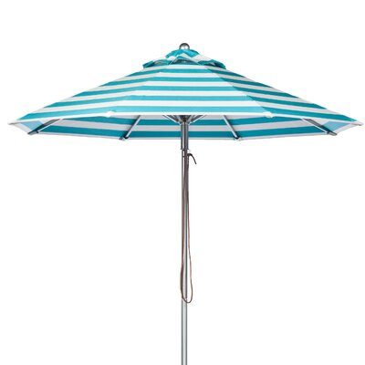 11 Market Umbrella Fabric: Turquoise and White Stripe
