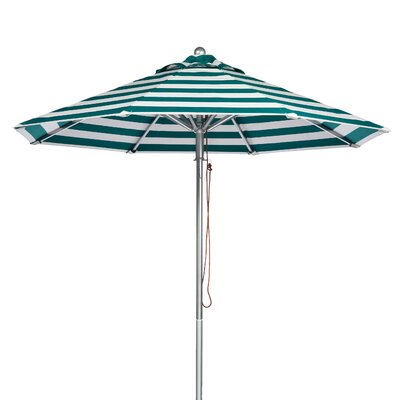 9 Market Umbrella Fabric: Teal and White Stripe