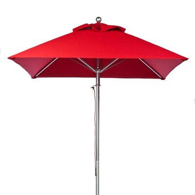 FRANKFORD UMBRELLAS 6.5 ft. Square Aluminum Commercial Grade Market Umbrella - Pulley Lift - Fabric: Logo Red