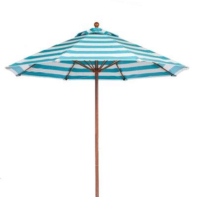 7.5 Market Umbrella Pole Type: Wood Grain Coated Aluminum Pole, Fabric: Turquoise and White Stripe