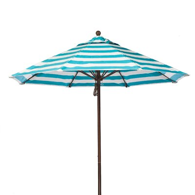 7.5 Market Umbrella Fabric: Turquoise and White Stripe, Pole Type: Bronze Coated Aluminum Pole