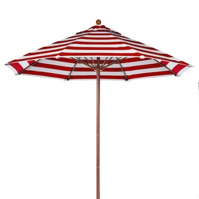 7.5 Market Umbrella Pole Type: Wood Grain Coated Aluminum Pole, Fabric: Red and White Stripe