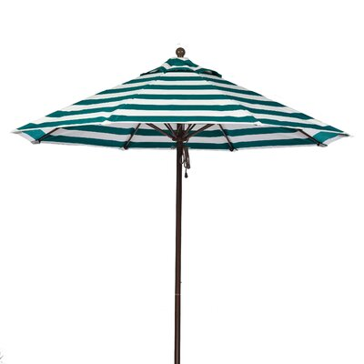 7.5 Market Umbrella Fabric: Teal and White Stripe, Pole Type: Bronze Coated Aluminum Pole