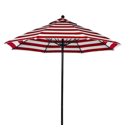 7.5 Market Umbrella Fabric: Red and White Stripe, Pole Type: Black Coated Aluminum Pole