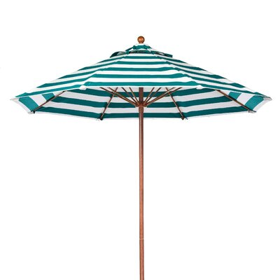 7.5 Market Umbrella Pole Type: Wood Grain Coated Aluminum Pole, Fabric: Teal and White Stripe