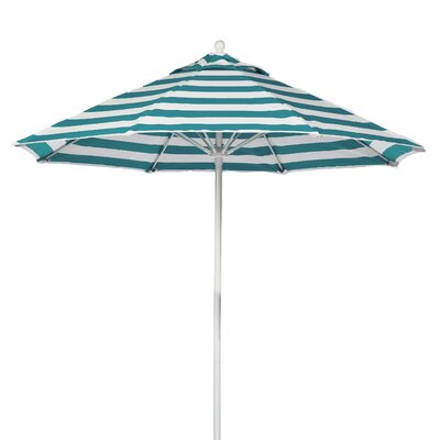 7.5 Market Umbrella Fabric: Teal and White Stripe, Pole Type: White Coated Aluminum Pole