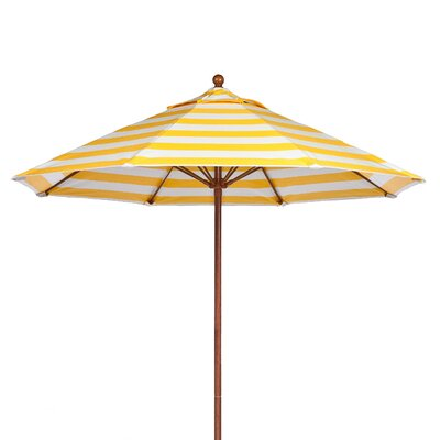 7.5 Market Umbrella Pole Type: Wood Grain Coated Aluminum Pole, Fabric: Yellow and White Stripe