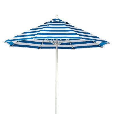 7.5 Market Umbrella Fabric: Blue and White Stripe, Pole Type: White Coated Aluminum Pole