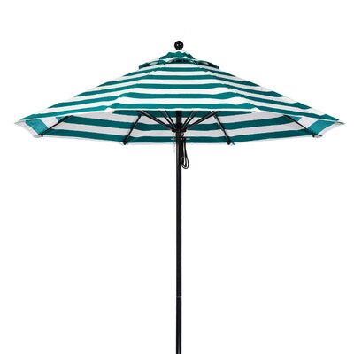 7.5 Market Umbrella Fabric: Teal and White Stripe, Pole Type: Black Coated Aluminum Pole