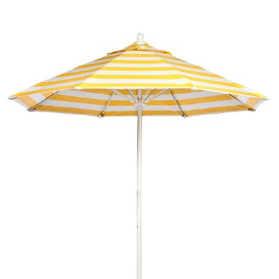 7.5 Market Umbrella Fabric: Yellow and White Stripe, Pole Type: White Coated Aluminum Pole