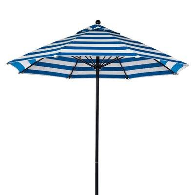 7.5 Market Umbrella Fabric: Blue and White Stripe, Pole Type: Black Coated Aluminum Pole