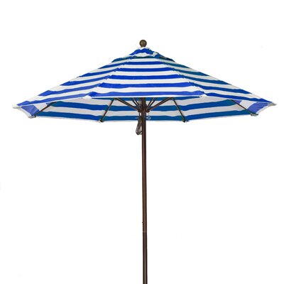 7.5 Market Umbrella Fabric: Blue and White Stripe, Pole Type: Bronze Coated Aluminum Pole