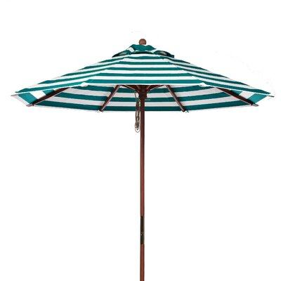 7.5 Market Umbrella Fabric: Teal and White Stripe
