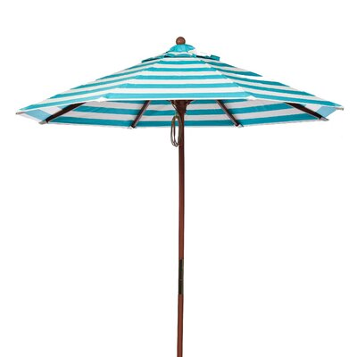 7.5 Market Umbrella Fabric: Turquoise and White Stripe