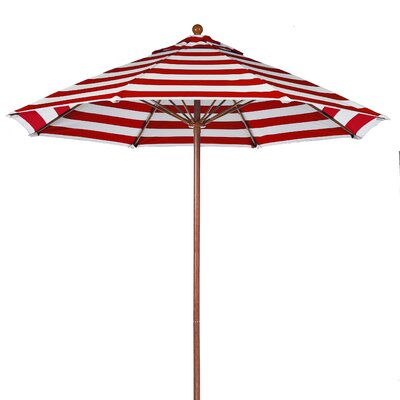 9 Market Umbrella Fabric: Red and White Stripe, Pole Type: Wood Grain Coated Aluminum Pole