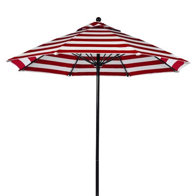 9 Market Umbrella Pole Type: Black Coated Aluminum Pole, Fabric: Red and White Stripe