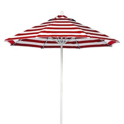 9 Market Umbrella Pole Type: White Coated Aluminum Pole, Fabric: Red and White Stripe
