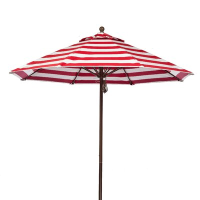 9 Market Umbrella Fabric: Red and White Stripe, Pole Type: Bronze Coated Aluminum Pole