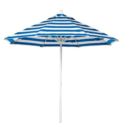 9 Market Umbrella Pole Type: White Coated Aluminum Pole, Fabric: Blue and White Stripe