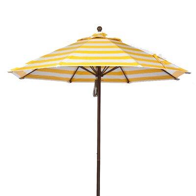 9 Market Umbrella Fabric: Yellow and White Stripe, Pole Type: Bronze Coated Aluminum Pole