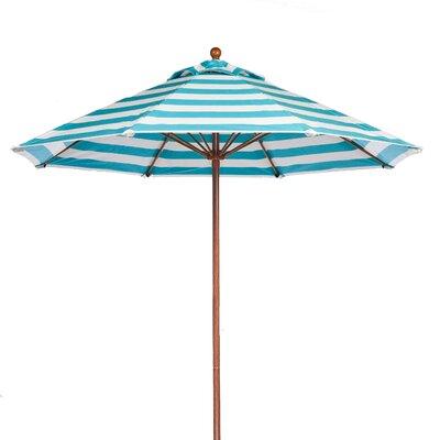 9 Market Umbrella Fabric: Turquoise and White Stripe, Pole Type: Wood Grain Coated Aluminum Pole