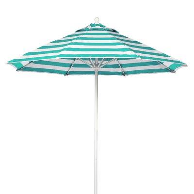 9 Market Umbrella Pole Type: White Coated Aluminum Pole, Fabric: Turquoise and White Stripe