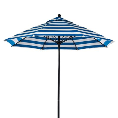 9 Market Umbrella Pole Type: Black Coated Aluminum Pole, Fabric: Blue and White Stripe
