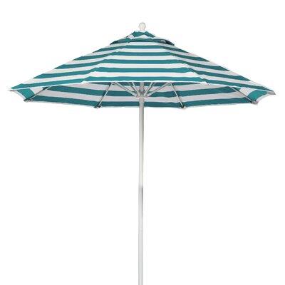 9 Market Umbrella Pole Type: White Coated Aluminum Pole, Fabric: Teal and White Stripe