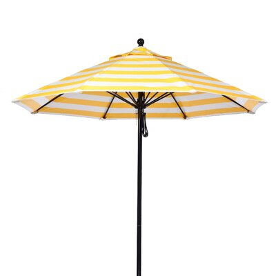 9 Market Umbrella Pole Type: Black Coated Aluminum Pole, Fabric: Yellow and White Stripe