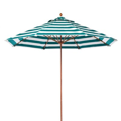 9 Market Umbrella Fabric: Teal and White Stripe, Pole Type: Wood Grain Coated Aluminum Pole