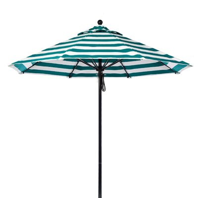 9 Market Umbrella Pole Type: Black Coated Aluminum Pole, Fabric: Teal and White Stripe