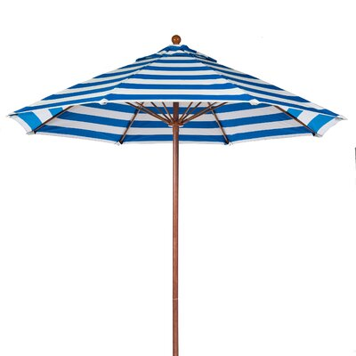 9 Market Umbrella Fabric: Blue and White Stripe, Pole Type: Wood Grain Coated Aluminum Pole