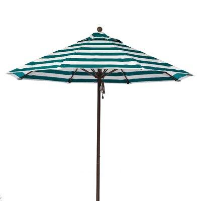 9 Market Umbrella Fabric: Teal and White Stripe, Pole Type: Bronze Coated Aluminum Pole