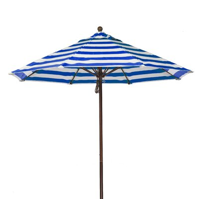 9 Market Umbrella Fabric: Blue and White Stripe, Pole Type: Bronze Coated Aluminum Pole