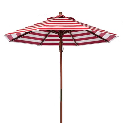 9 Market Umbrella Fabric: Red and White Stripe