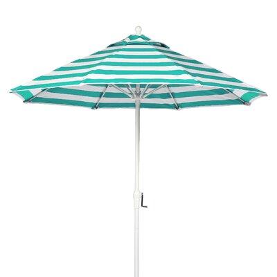 9 Market Umbrella Fabric: Turquoise and White Stripe, Pole Type: White Coated Aluminum Pole
