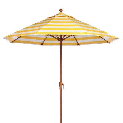 9 Market Umbrella Pole Type: Wood Grain Coated Aluminum Pole, Fabric: Yellow and White Stripe
