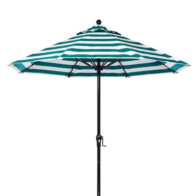 9 Market Umbrella Fabric: Teal and White Stripe, Pole Type: Black Coated Aluminum Pole