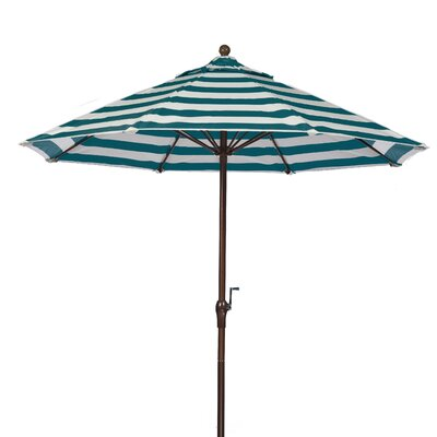 9 Market Umbrella Fabric: Teal and White Stripe, Pole Type: Bronze Coated Aluminum Pole
