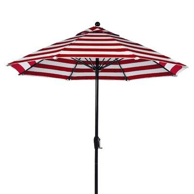 9 Market Umbrella Fabric: Red and White Stripe, Pole Type: Black Coated Aluminum Pole