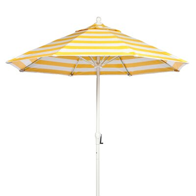 9 Market Umbrella Fabric: Yellow and White Stripe, Pole Type: White Coated Aluminum Pole