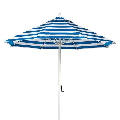 9 Market Umbrella Fabric: Blue and White Stripe, Pole Type: White Coated Aluminum Pole