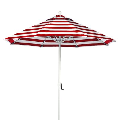 9 Market Umbrella Fabric: Red and White Stripe, Pole Type: White Coated Aluminum Pole