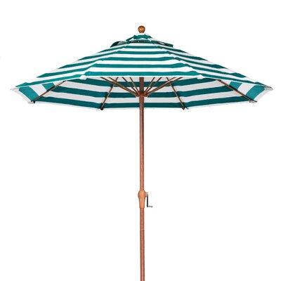 9 Market Umbrella Pole Type: Wood Grain Coated Aluminum Pole, Fabric: Teal and White Stripe